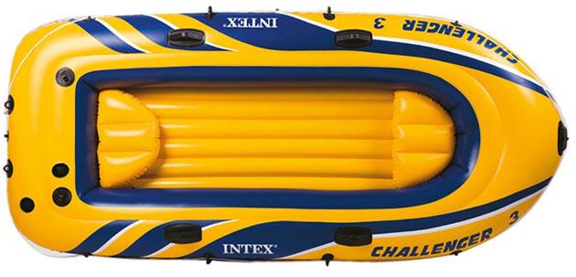 Bateau gonflable Intex CHALLENGER 3 dimensions 295 x 137 x 43cm capacite 3 personnes - Caractéristiques du bateau gonflable trois places Intex CHALLENGER 3