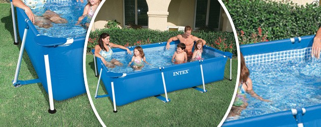 Piscine hors-sol tubulaire Intex METAL FRAME JUNIOR rectangulaire 220 x 150 x 60cm coloris bleu - Piscine hors-sol tubulaire Intex METAL FRAME JUNIOR Robuste et conviviale