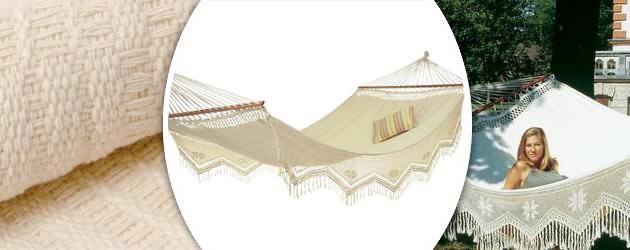 Hamac Amazonas a barres Palacio Jacquard coloris ecru 240 x 160cm - Caractéristiques du hamac Amazonas à barres Palacio