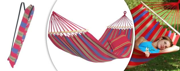 Hamac Amazonas a baguettes Aruba coloris cayenne 210 x 120cm - Caractéristiques du hamac Amazonas à baguettes Aruba