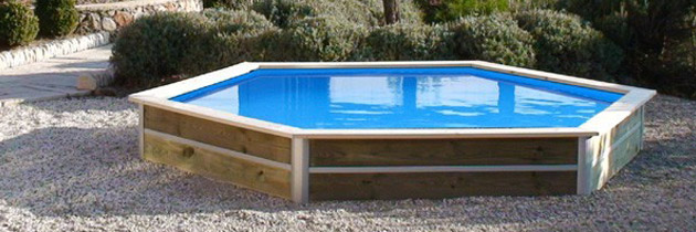 Kit piscine bois water clip jolo hexagonale 340 x 76cm for Piscine bois hexagonale