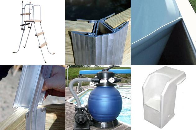 Kit piscine bois Water Clip CEBU hexagonale Ø340 x 111cm - Kit piscine bois Water Clip CEBU Un kit complet