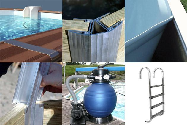 Kit piscine bois Water Clip FLORES octogonale Ø460 x 129cm - Kit piscine bois Water Clip FLORES Un kit complet
