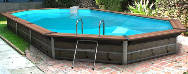 Kit piscine bois water clip summum octogonale allong e 7 for Piscine hors sol bois water clip