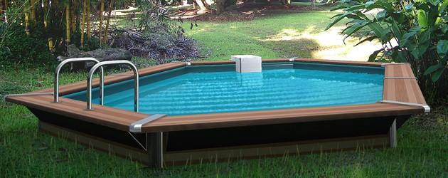 Kit piscine bois Water Clip PLATINUM hexagonale allongee 518 x 328 x 147cm - Piscine bois Water Clip PLATINUM Luxueuse et dotée d'un équipement complet