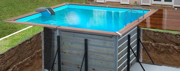 Kit piscine bois water clip platinum carr e 368 x 368 x for Piscine hors sol bois water clip