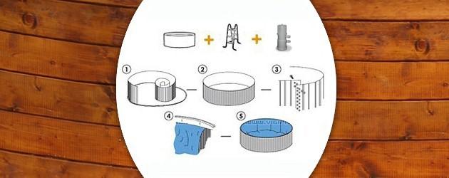 Kit piscine hors-sol acier Toi ETNICA ronde Ø3.50 x 0.90m decor bois - Piscine hors-sol Toi ETNICA Plaisir et détente à chaque baignade