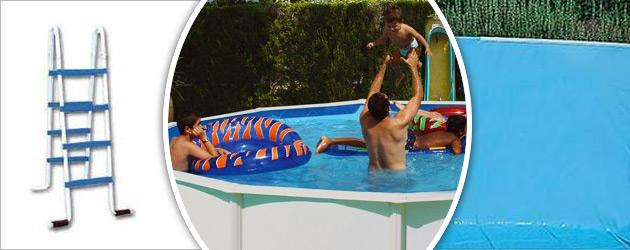 Kit piscine hors-sol acier Toi CANARIAS CIRCULAR ronde Ø2.30 x 1.20m laque blanc - Piscine hors-sol Toi CANARIAS CIRCULAR Plaisir et détente à chaque baignade