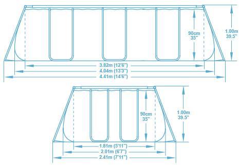 Piscine hors-sol tubulaire Bestway POWER STEEL FRAME POOL rectangulaire 404x201x100cm filtration sable - Caractéristiques techniques