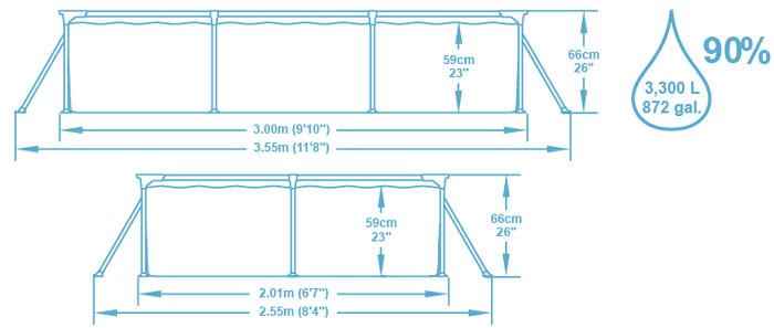 Piscine hors-sol tubulaire Bestway DELUXE SPLASH FRAME POOL rectangulaire 300x201x66 cm filtration cartouche - Caractéristiques techniques