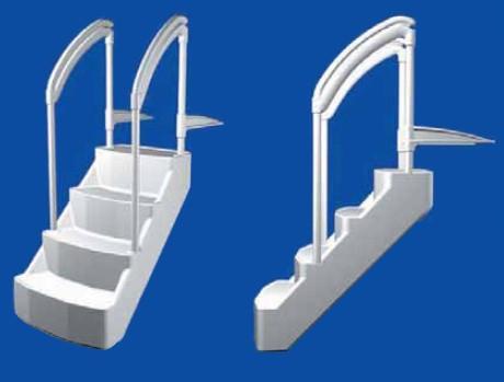 escalier piscine voie royale avec double main courante sur march. Black Bedroom Furniture Sets. Home Design Ideas