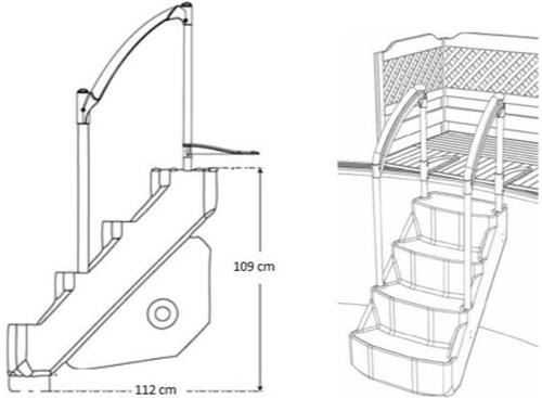 Escalier piscine VOIE ROYALE avec double main courante - Caractéristiques et avantages de l'escalier intérieur VOIE ROYALE
