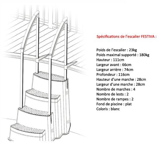 Escalier piscine festiva avec double main courante sur march - Piscine hors sol avec escalier interieur ...