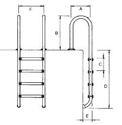 Echelle piscine enterree droite acier inoxydable 2 marches a sceller - Dimensions de l'échelle piscine enterrée droite