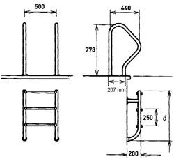 Echelle piscine enterree 2 parties acier inoxydable a visser - Dimensions de l'échelle piscine enterrée 2 parties