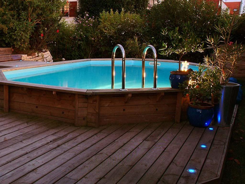 Piscine Tubulaire Terrasse Bois kit piscine bois nortland ubbink ocea octogonale 400x610x130cm liner bleu