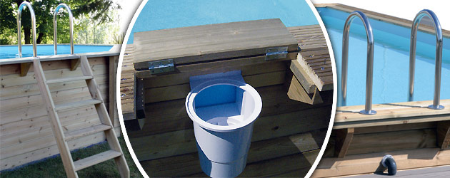 Kit piscine bois Nortland Ubbink AZURA rectangulaire 350x505x126cm liner beige - Avantages des piscines bois Nortland Ubbink AZURA