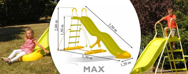 toboggan soulet max double vague structure acier 200 x 350cm sur march. Black Bedroom Furniture Sets. Home Design Ideas