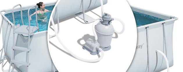 Kit Piscine tubulaire Bestway POWER STEEL FRAME POOLS rectangulaire 488 x 274 x 122cm filtration sable + echelle +tapis de sol + bache - Avantages des piscines Bestway POWER STEEL FRAME POOLS rectangulaire 488 x 274 x 122cm filtration sable