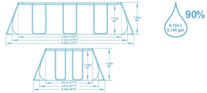 Kit piscine tubulaire Bestway POWER STEEL FRAME POOL rectangulaire 412x201x122cm cartouche - Caractéristiques techniques Bestway POWER STEEL FRAME POOL