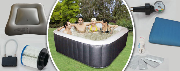 Spa gonflable 8 places Water Health MAYA carre 185 x 185 x 65cm PVC noir - Spa gonflable Water Health MAYA un bijou de technologie