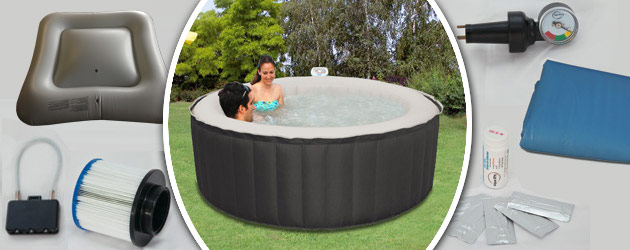 Spa gonflable 6 places Water Health ECLIPS rond Ø208 x 65cm toile nylon noir - Spa gonflable Water Health ECLIPS un bijou de technologie