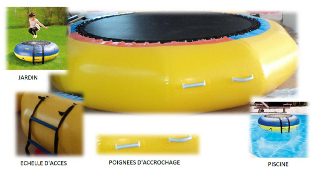 Trampoline aquatique gonflable geant WATER JUMP Ø200cm - Trampoline aquatique gonflable WATER JUMP