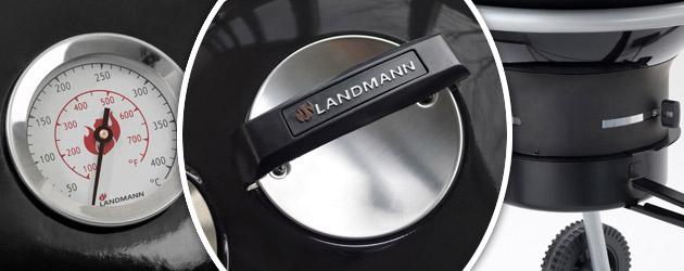 Barbecue charbon de bois Landmann BLACK PEARL COMFORT LITTLE acier emaille noir - Avec Landmann, ne vous contentez plus des imitations !
