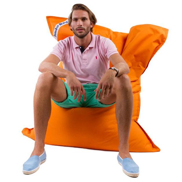 Coussin geant Jumbo Bag THE ORIGINAL 130 x 170cm coloris orange - Jumbo Bag Un pouf hyper tendance au service de votre relaxation