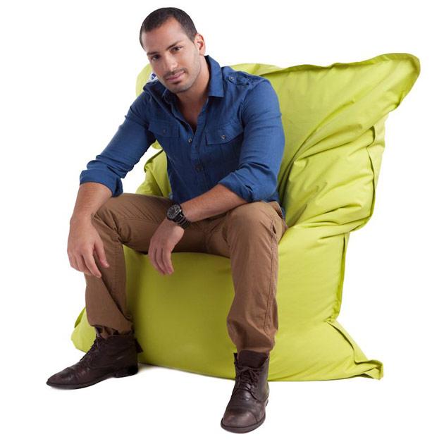 Coussin geant Jumbo Bag THE ORIGINAL 130 x 170cm coloris vert anis - Jumbo Bag Un pouf hyper tendance au service de votre relaxation