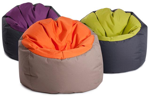 Poire Jumbo Bag BOWLY 70 x 70cm coloris gris et aubergine - Jumbo Bag Un pouf hyper tendance au service de votre relaxation