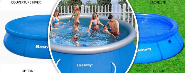 Kit piscine hors-sol autoportante Bestway FAST SET POOLS ronde Ø274 x 76cm - Bestway FAST SET POOLS ronde Ø274 x 76cm Des piscines polyvalentes et conviviales