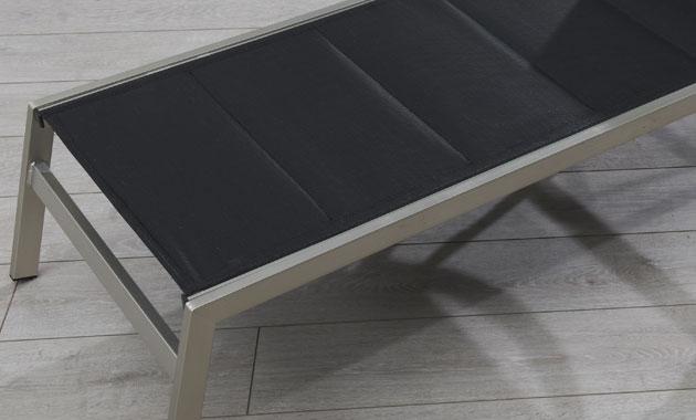 Bain de soleil aluminium et textilene PACIFIC 190 x 63 x 33cm coloris noir - Bain de soleil PACIFIC confortable et accueillante