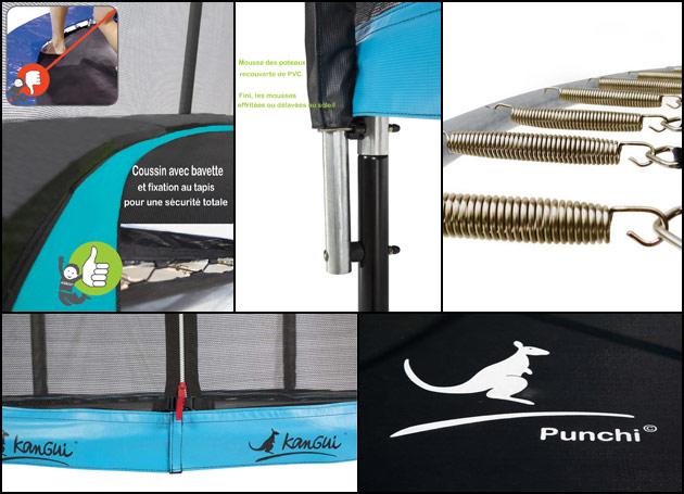 Trampoline Kangui PUNCHI ATOLL 360 Ø365 x 266cm noir et bleu avec echelle - Avec le trampoline Kangui PUNCHI ATOLL , place au design et à la sécurité