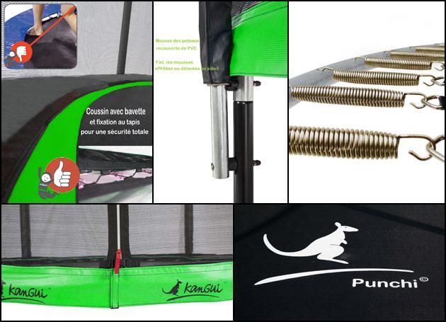 Trampoline Kangui PUNCHI ALOE 360 Ø365 x 266cm noir et vert avec echelle - Avec le trampoline Kangui PUNCHI ALOE , place au design et à la sécurité