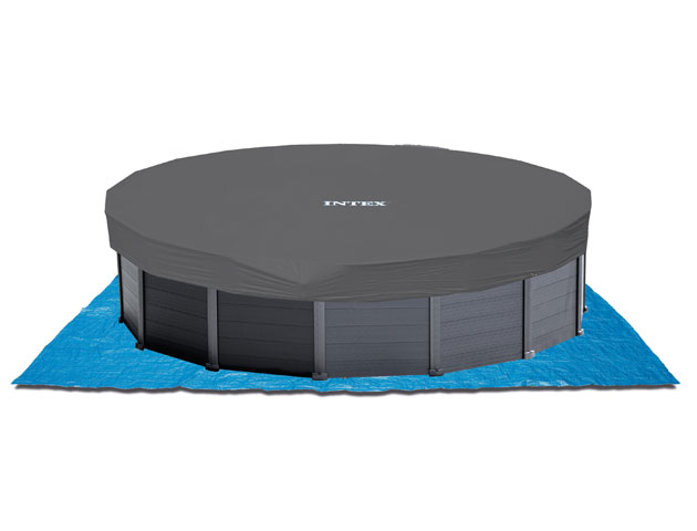 Kit piscine hors-sol Intex GRAPHITE ronde Ø478 x 124cm avec filtration a sable - Galerie photos de la piscine hors-sol Intex GRAPHITE