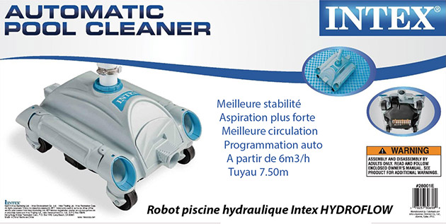 Robot piscine hydraulique intex hydroflow aspiration sur for Robot piscine intex