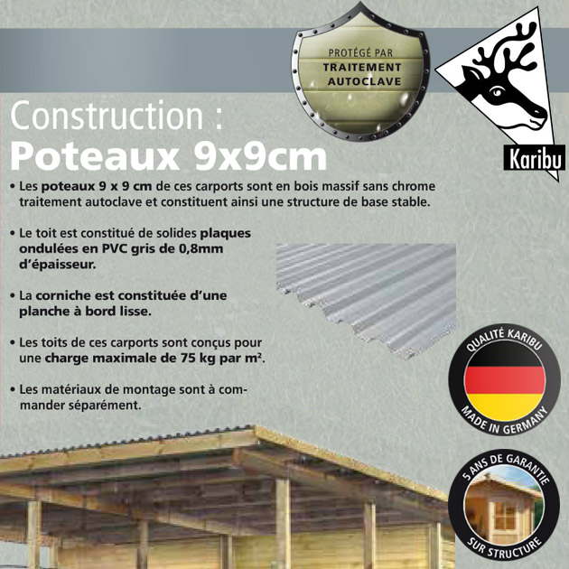 Carport de stationnement Karibu CARPORT ECO 1 DOUBLE coloris bois naturel dimensions 563 x 490 x 229cm - Carport de stationnement Karibu Un savoir-faire typiquement Allemand pour une réalisation de qualité