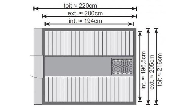 Sauna vapeur d'exterieur Karibu BARIL dimensions 216 x 220 x 216cm en pin nordique - Sauna vapeur d'extérieur Karibu BARIL Originalité, caractère et robustesse