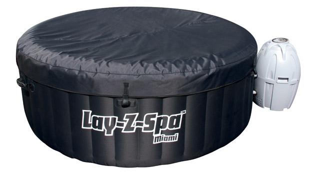 Spa gonflable Bestway LAY-Z-SPA MIAMI Ø180 x 65cm 4 places coloris noir - Spa gonflable Bestway LAY-Z-SPA MIAMI Détente et relaxation au programme