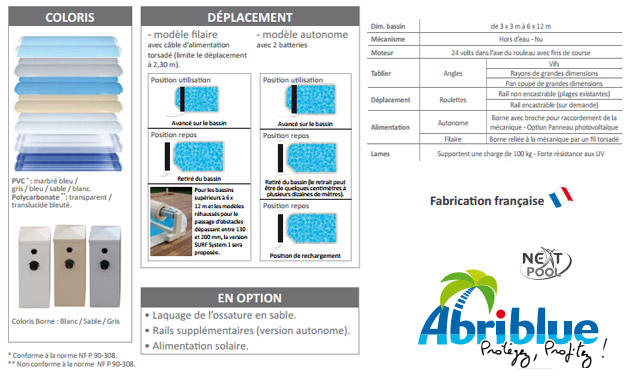 Volet automatique de securite Abriblue OPEN SURF SYSTEM 2 filaire coloris blanc pour piscine enterree 6x12m sans escalier - Le volet automatique hors d'eau Abriblue OPEN SURF SYSTEM 2 Une installation aisée