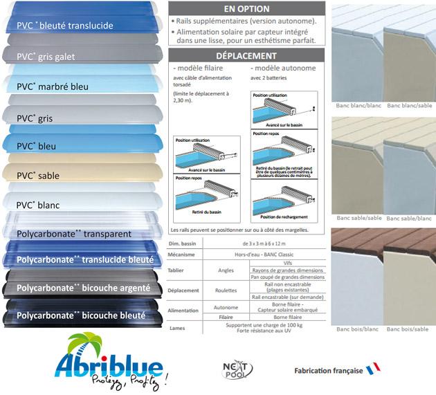 Volet automatique de securite Abriblue BANC SURF SYSTEM pour piscine enterree - Le volet automatique hors d'eau Abriblue BANC SURF SYSTEM Une installation et une manipulation aisées