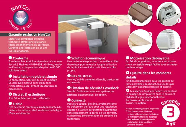 Volet automatique de securite immerge Abriblue VEESIO lames et caillebotis PVC blanc pour piscine 4x8m sans escalier - Volet automatique immergé Abriblue VEESIO Esthétisme et qualité de fabrication