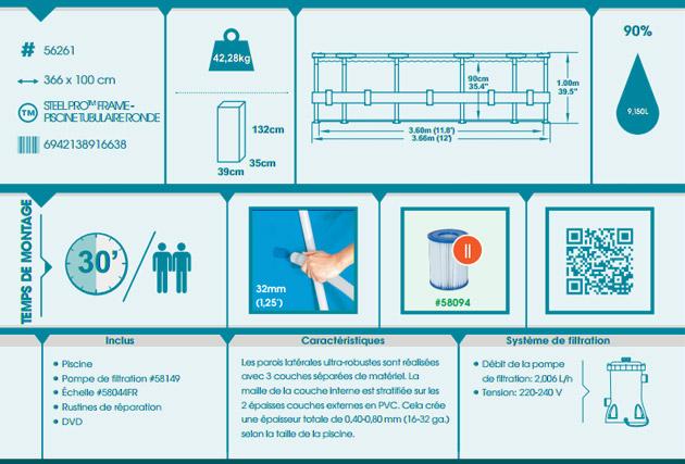 Kit piscine Bestway STEEL PRO MAX POOL ronde Ø366 x 100cm filtration cartouche - Avantages des piscines Bestway STEEL PRO MAX POOL