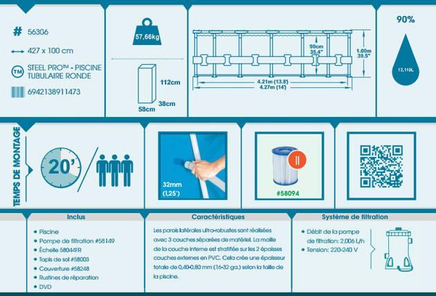 Kit piscine Bestway STEEL PRO FRAME POOL ronde Ø427 x 100cm filtration cartouche - Avantages des piscines Bestway STEEL PRO FRAME POOL