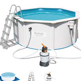 Kit piscine Bestway STEEL WALL POOL ronde Ø360 x 120cm filtration a sable - Kit piscine complet Bestway STEEL WALL POOL
