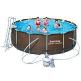 Kit piscine Bestway POWER STEEL RATTAN FRAME POOLS ronde Ø427 x 107cm aspect tresse filtration a sable - Caractéristiques techniques des piscines Bestway POWER STEEL RATTAN FRAME POOLS Ø427 x 107cm aspect tressé filtration à sable