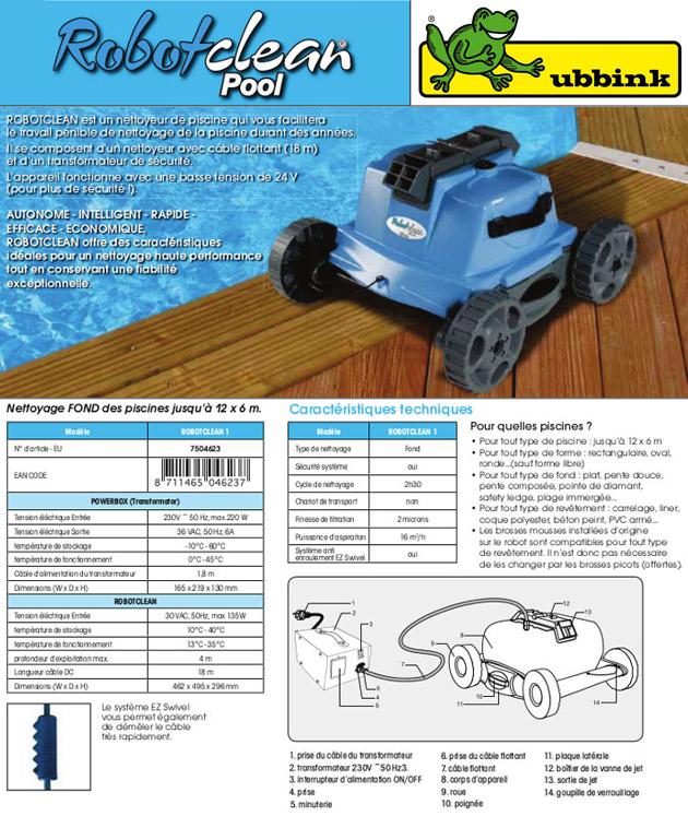 Robot piscine electrique Ubbink ROBOTCLEAN 1 finesse 2 microns - Robot piscine électrique Ubbink ROBOTCLEAN 1 Simplicité et rapidité