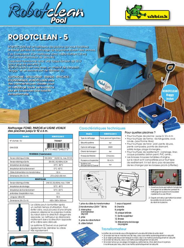Robot piscine electrique Ubbink ROBOTCLEAN 5 avec chariot - Robot piscine électrique Ubbink ROBOTCLEAN 5 Simplicité et rapidité