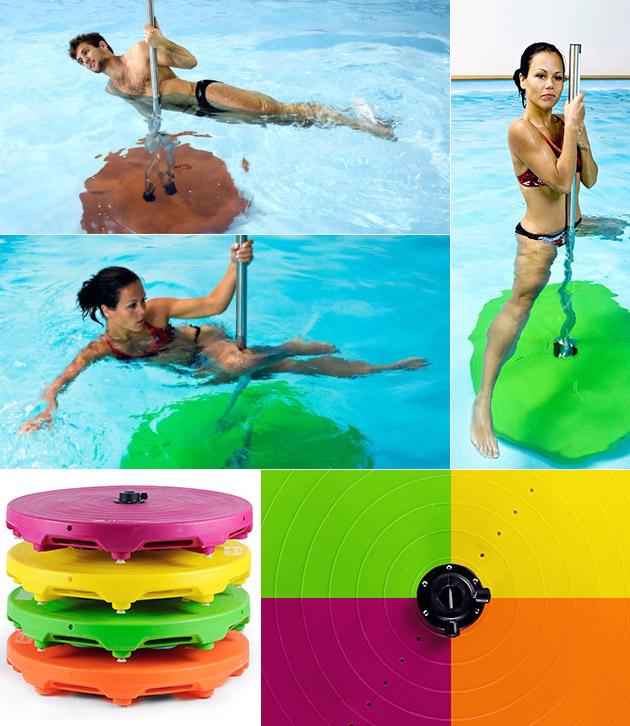 Barre sur plateforme Waterflex POOLBAR 190cm coloris orange pour aquafitness - Waterflex POOLBAR L'aqua jumping et l'aquastep à portée de main